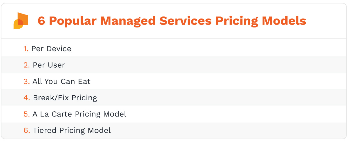 The 6 popular managed it services pricing models are: per device, per user, all you can eat, break/fix pricing, a la carte pricing model, tiered pricing model