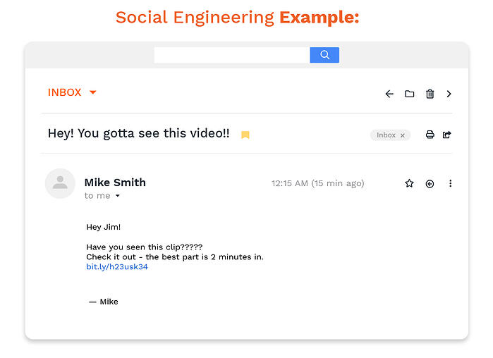 An example of a social engineering attack email.