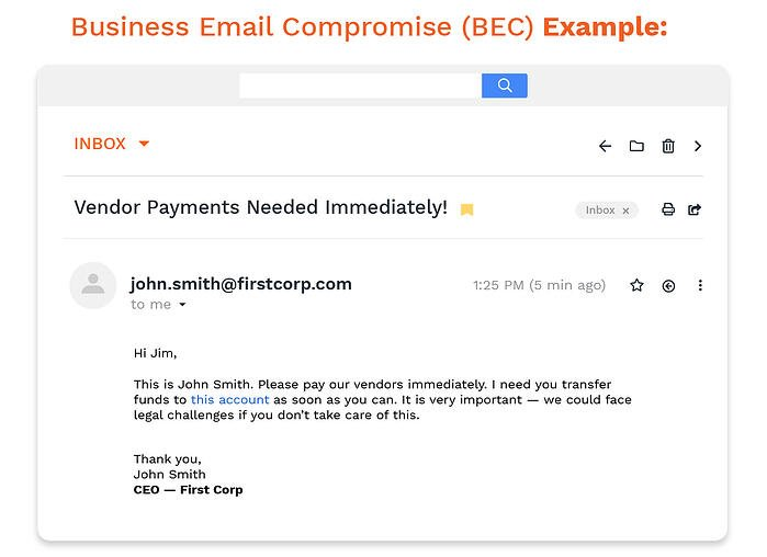 An example of a business email compromise (BEC) email