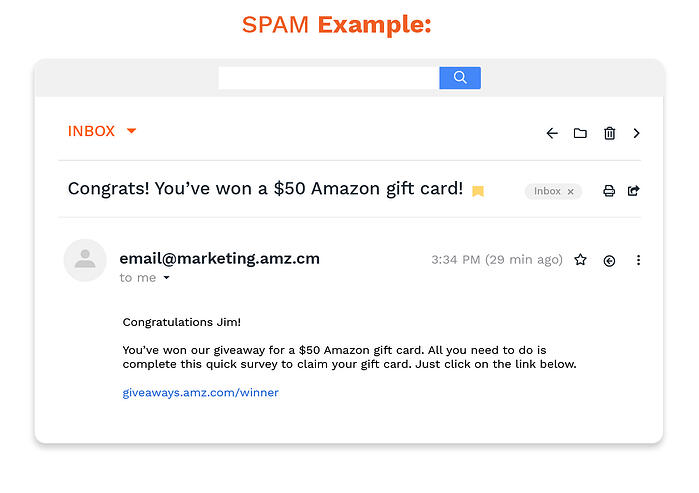 an example of a spam email