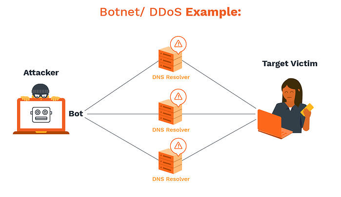 Example of how botnet and DDoS attacks work