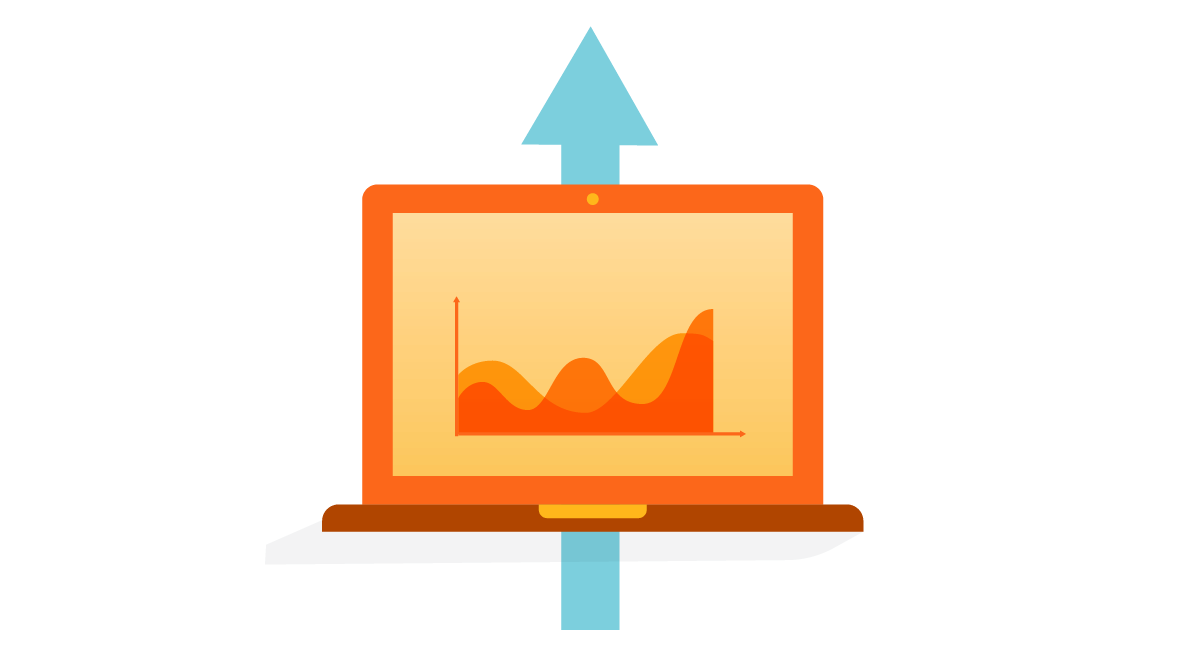 orange laptop metrics with blue arrow pointing up