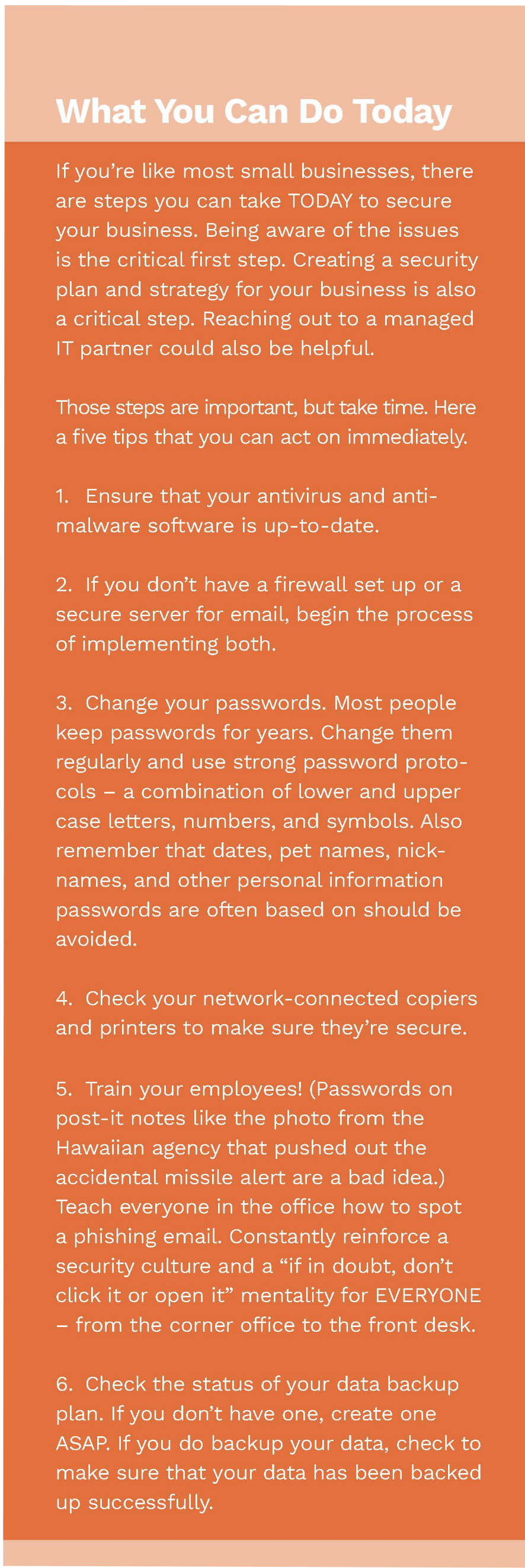 Security Steps You Can take NOW to improve network security --