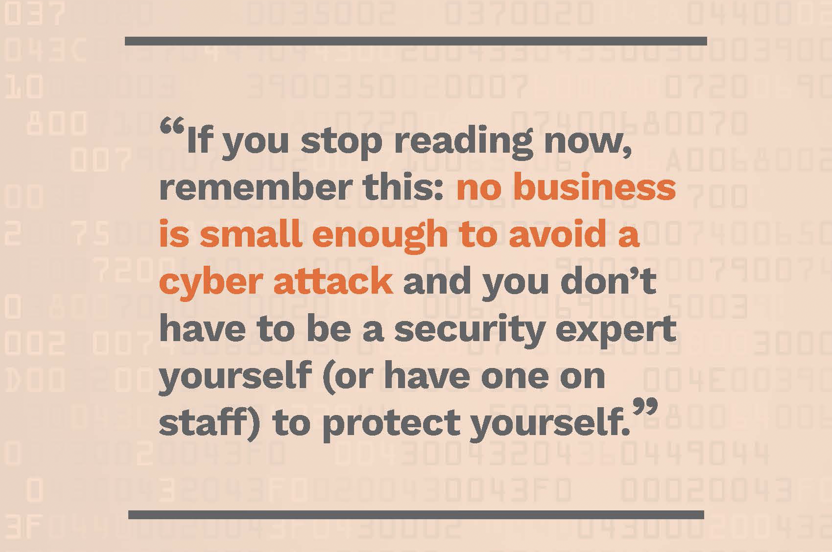 No business is small enough to avoid a cyber attack