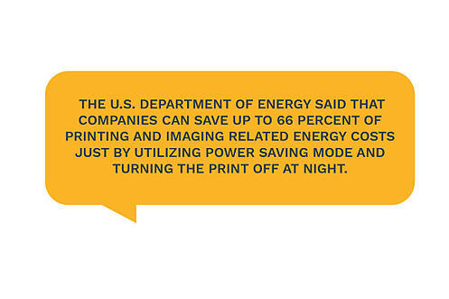 companies save 66% of printing energy costs by turning off the printer at night