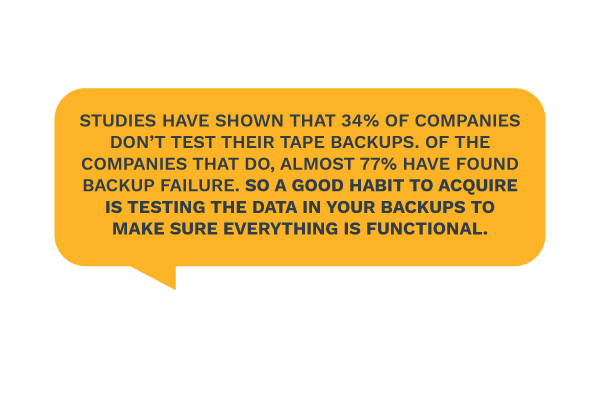 Studies have shown that 34% of companies don't test their tape backups. Of the companies that do, almost 77% have found backup failure. So a good habit to acquire is testing the data in your backups to make sure everything is functional.