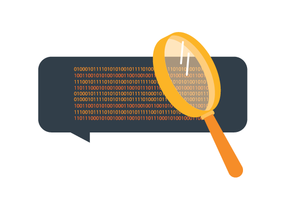 A magnifying glass over encrypted text