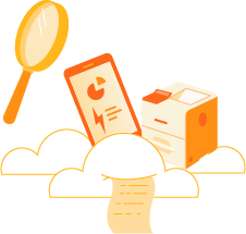 Magnifying glass focused on printer, phone, and documents in the cloud