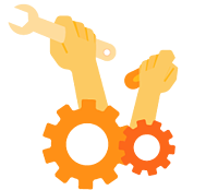 innovative orange gears with hands