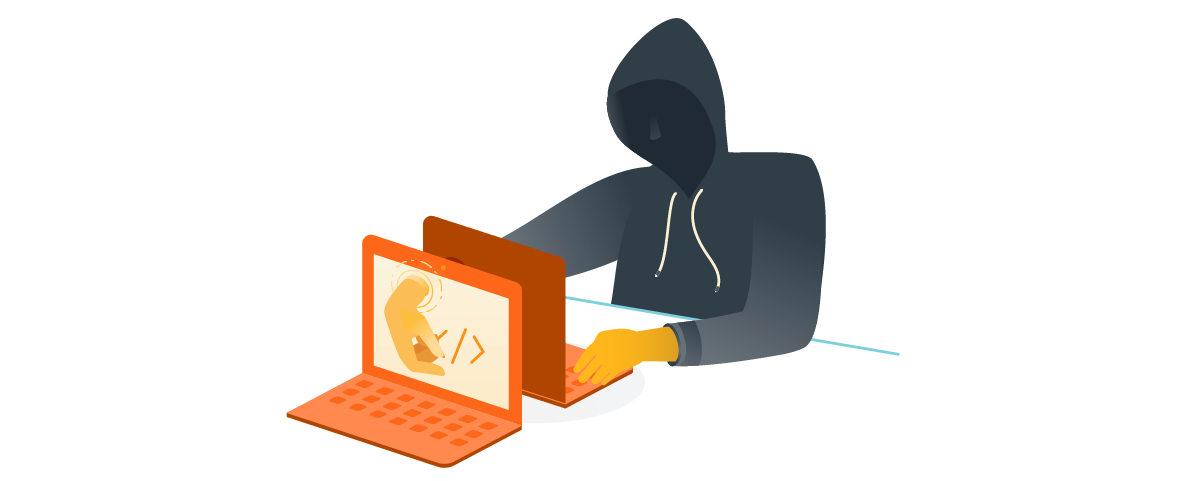 man in hoodie on the dark web