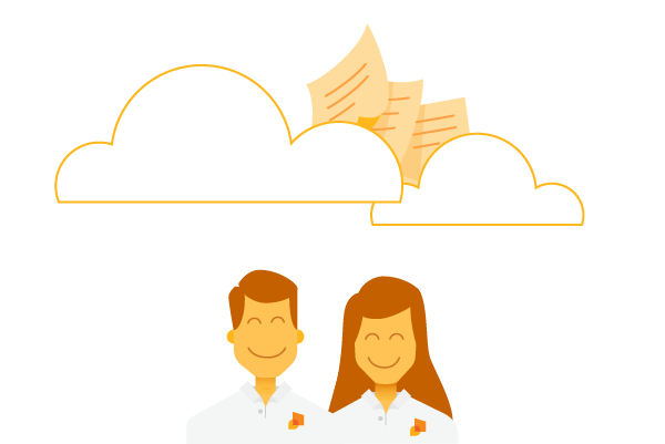 happy man and woman sent documents to the cloud