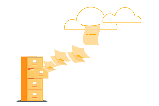 file cabinet sending documents to the cloud