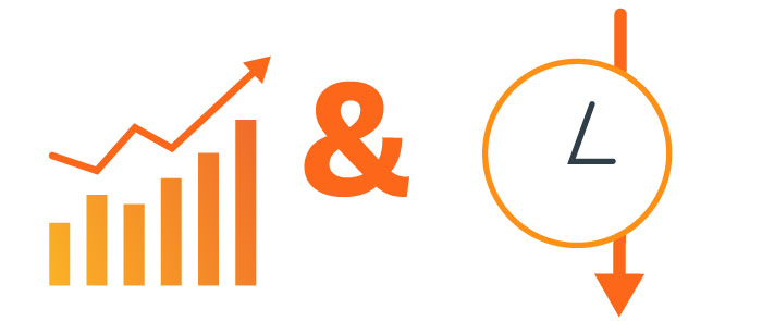 orange bar graph increasing ampersand and clock