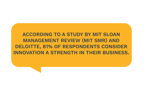 According to a study by MIT Sloan Management Review (MIT SMR) and Deloitte, 81% of respondents consider innovation a strength in their business