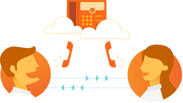 two happy employees using a unified communication system
