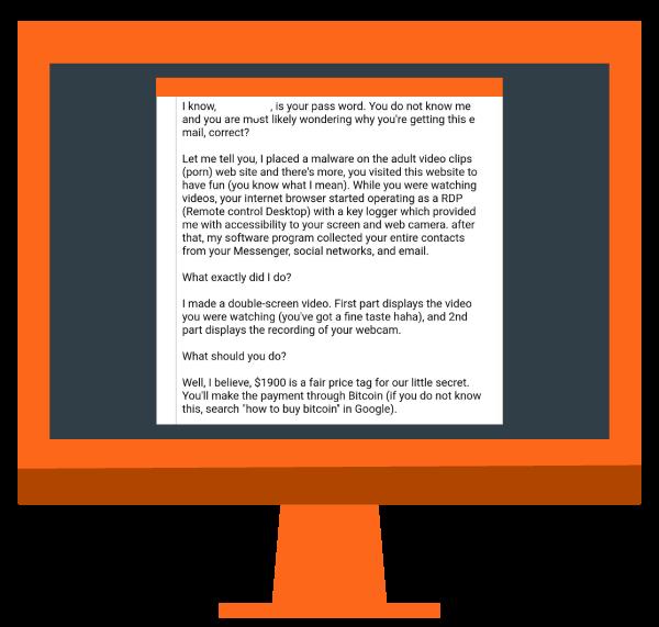 orange desktop with text of ransom fee