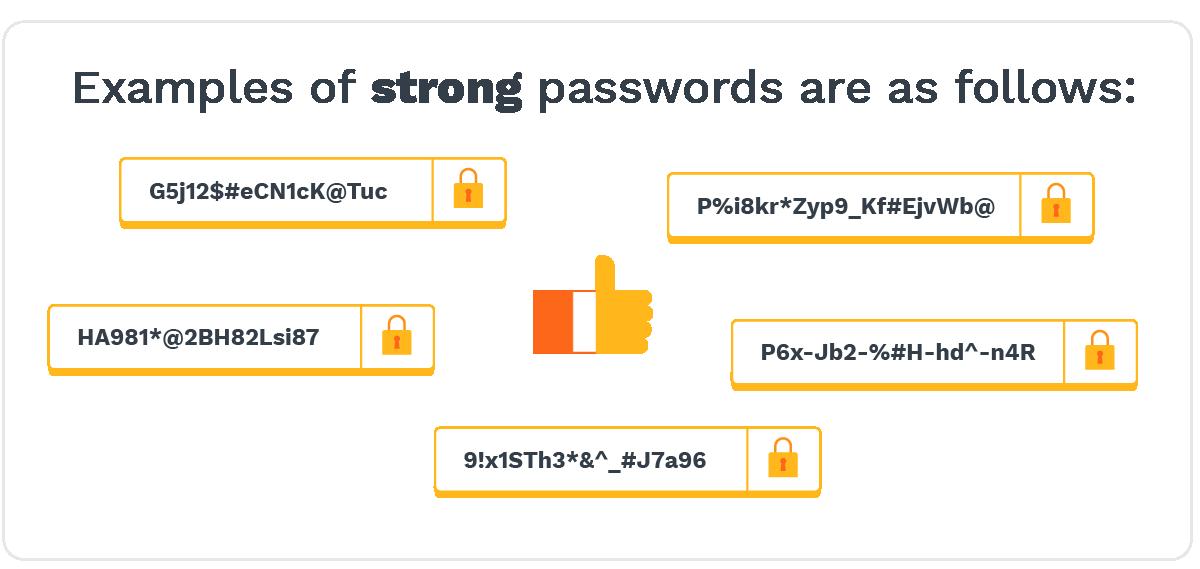 Examples ofstrong passwordsare as follows:  G5j12$#eCN1cK@Tuc P%i8kr*Zyp9_Kf#EjvWb@ P6x-Jb2-%#H-hd^-n4R